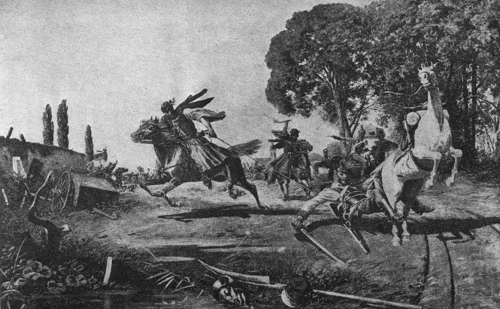 Karikással harcoló gerillák (Greguss Imre rajza)