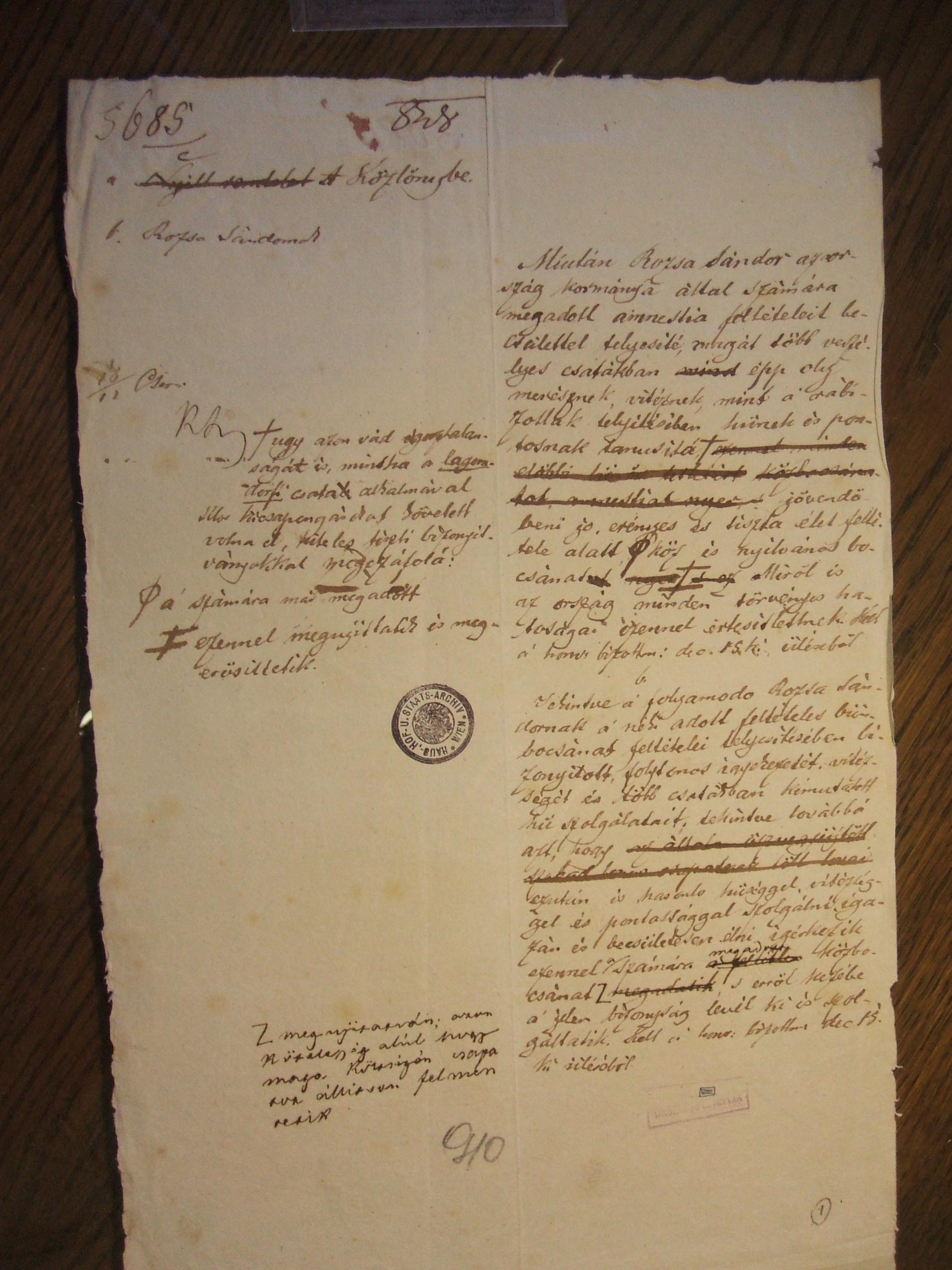 Rózsa Sándor végleges amnesztiájának fogalmazványa Kossuth Lajos sajátkezű kiegészítéseivel (Budapest, 1848. december 15.)