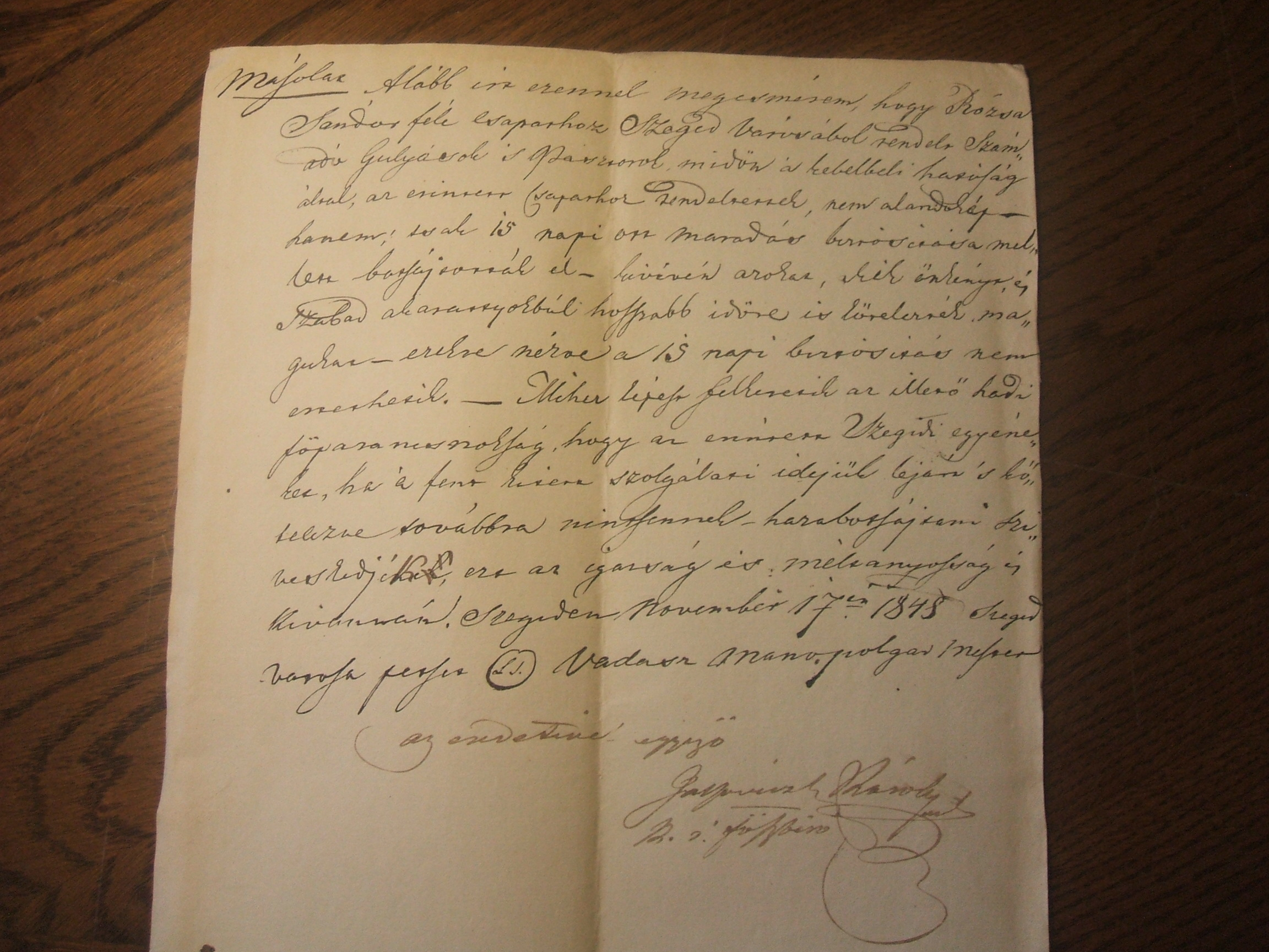 Vadász Manó szegedi polgármester levele a Rózsa-lovasok közé rendelt gulyások és pásztorok hazaküldéséről (Szeged, 1848. november 17.)