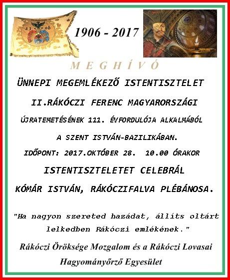 II.Rákóczi Ferenc újratemetési megemlékezés! Október 28.2017.